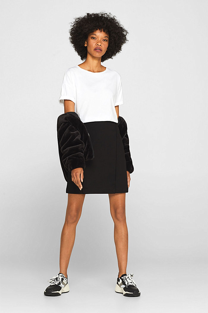 Stretch jersey skirt with pintucks, BLACK, detail image number 1