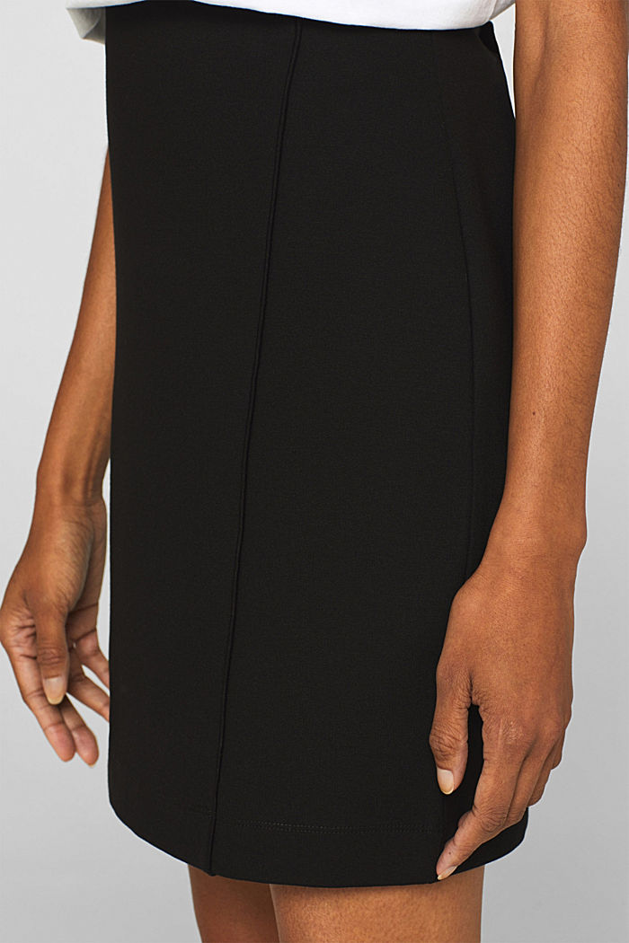 Stretch jersey skirt with pintucks, BLACK, detail image number 2