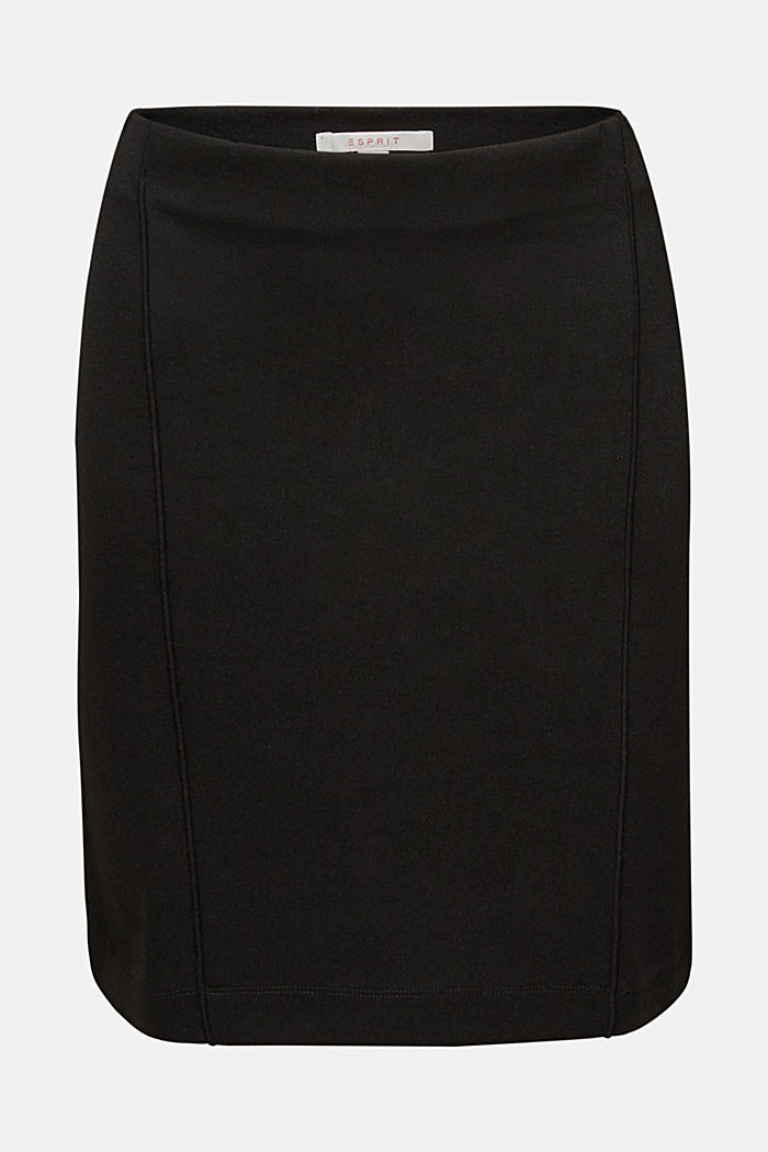 Stretch jersey skirt with pintucks, BLACK, detail image number 6
