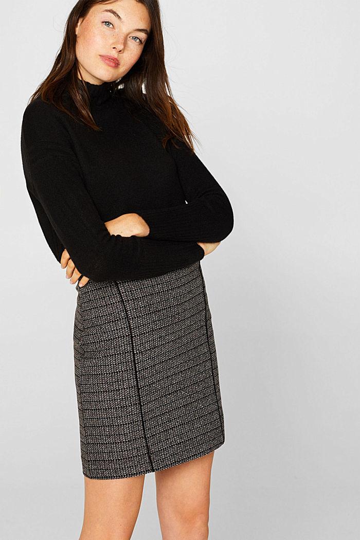 Stretch jersey mini skirt, BLACK, detail image number 0