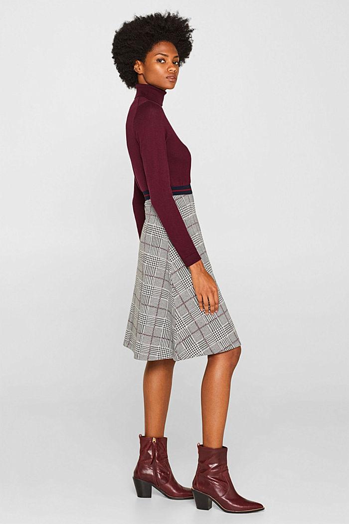 Flared stretch jersey skirt, GARNET RED, detail image number 0