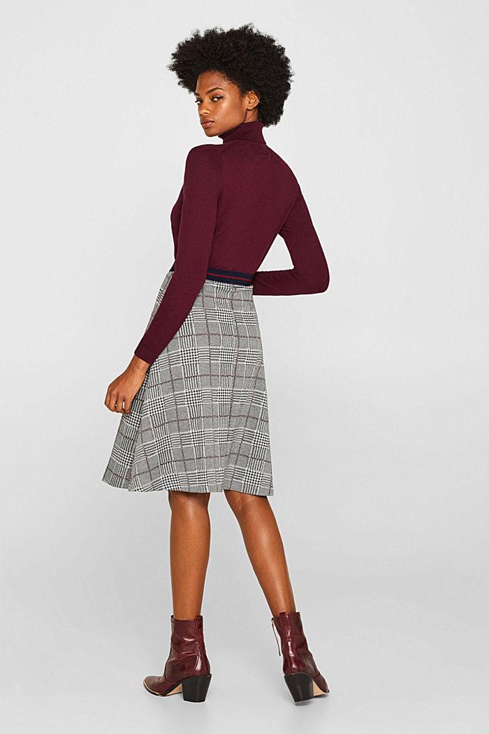 Flared stretch jersey skirt, GARNET RED, detail image number 2