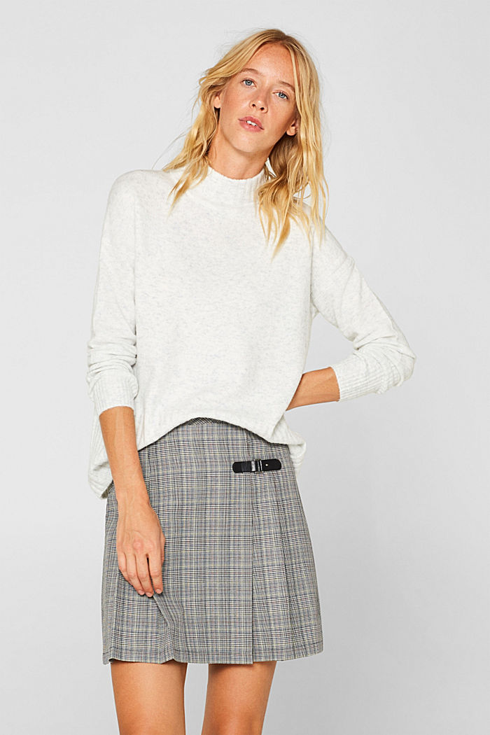 Pleated skirt with Prince of Wales checks, BLACK, detail image number 0