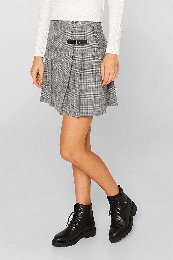 Pleated skirt with Prince of Wales checks, BLACK, detail image number 5