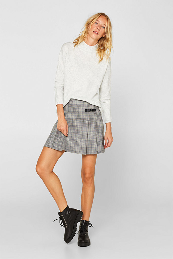 Pleated skirt with Prince of Wales checks, BLACK, detail image number 1