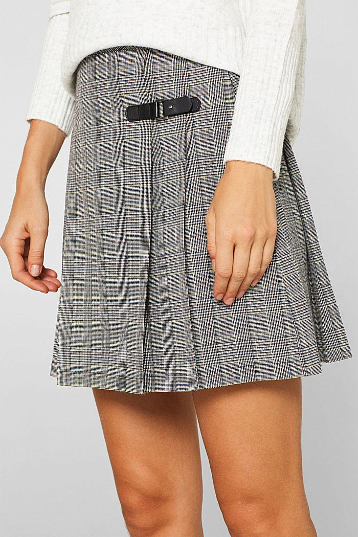 Pleated skirt with Prince of Wales checks, BLACK, detail image number 2