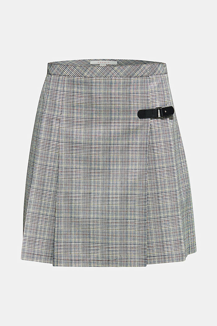 Pleated skirt with Prince of Wales checks, BLACK, detail image number 6