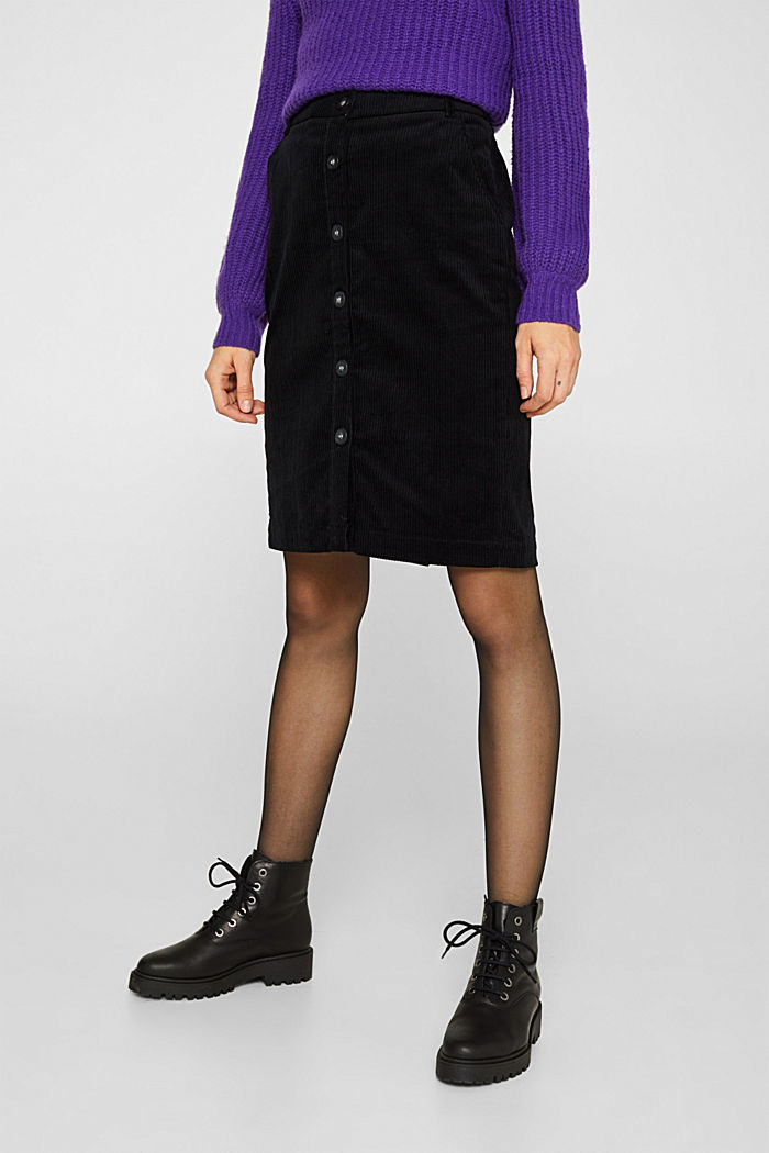Stretch corduroy skirt with a button placket, BLACK, detail image number 6