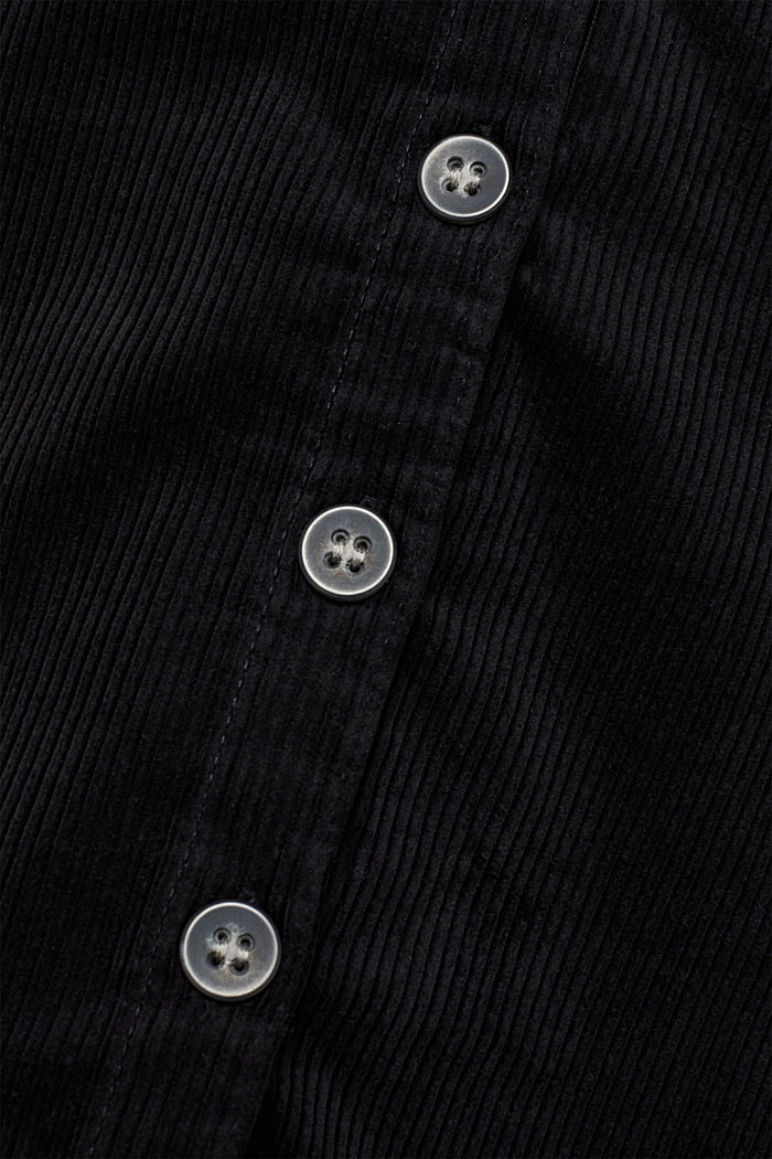 Stretch corduroy skirt with a button placket, BLACK, detail image number 4