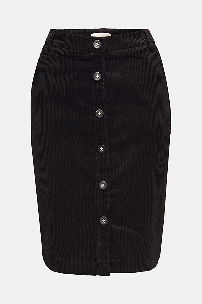 Stretch corduroy skirt with a button placket, BLACK, overview