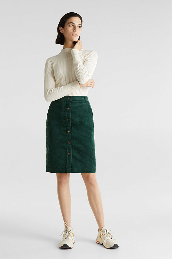 Stretch corduroy skirt with a button placket, BOTTLE GREEN, detail image number 0