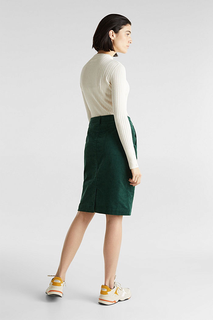 Stretch corduroy skirt with a button placket, BOTTLE GREEN, detail image number 3