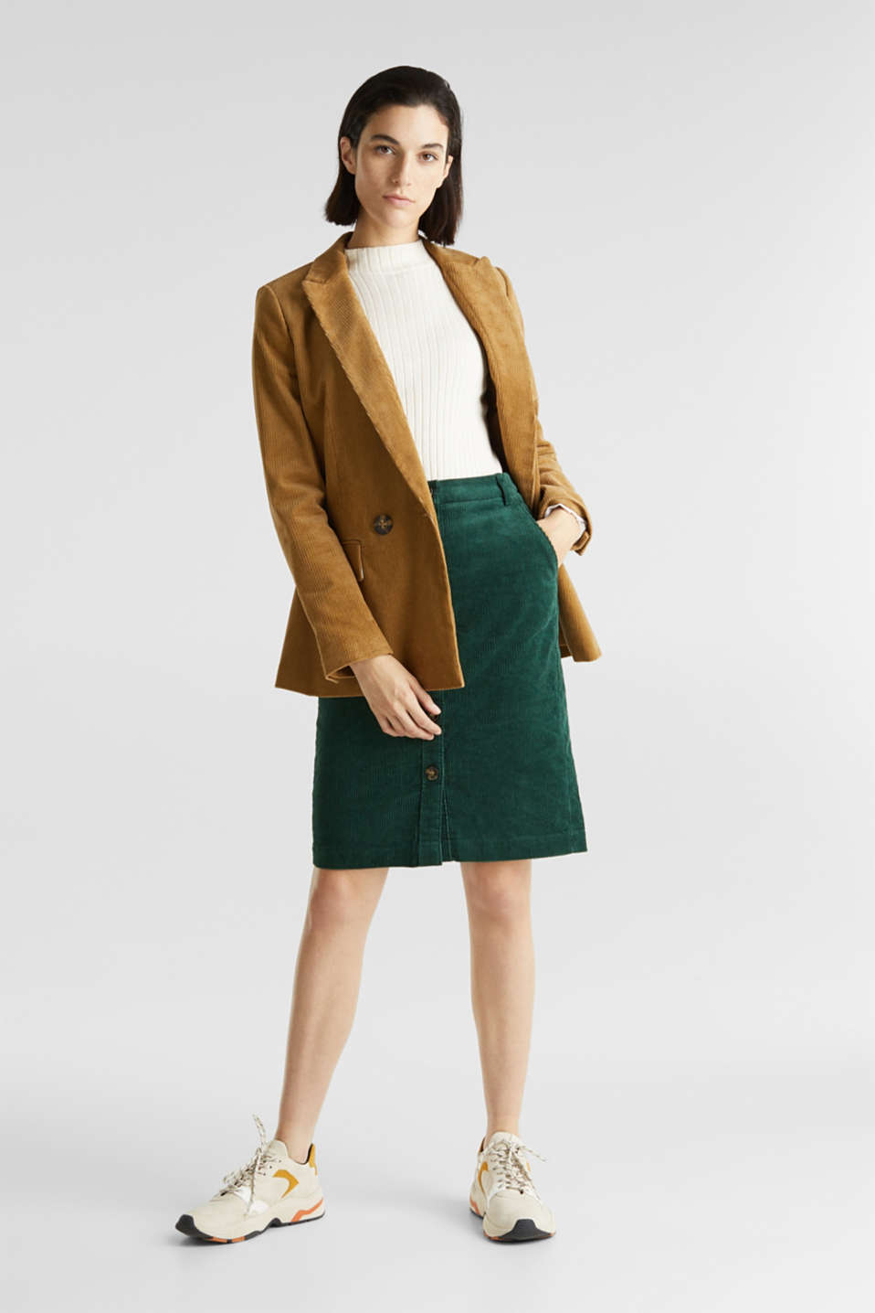 Stretch corduroy skirt with a button placket, BOTTLE GREEN, detail image number 1