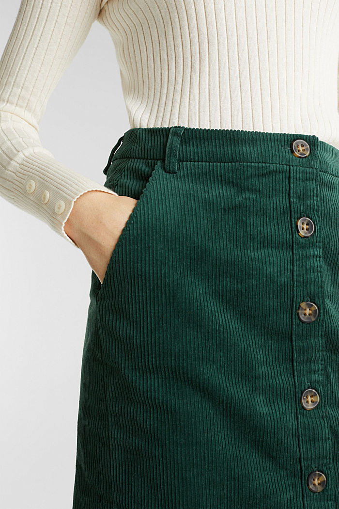 Stretch corduroy skirt with a button placket, BOTTLE GREEN, detail image number 2