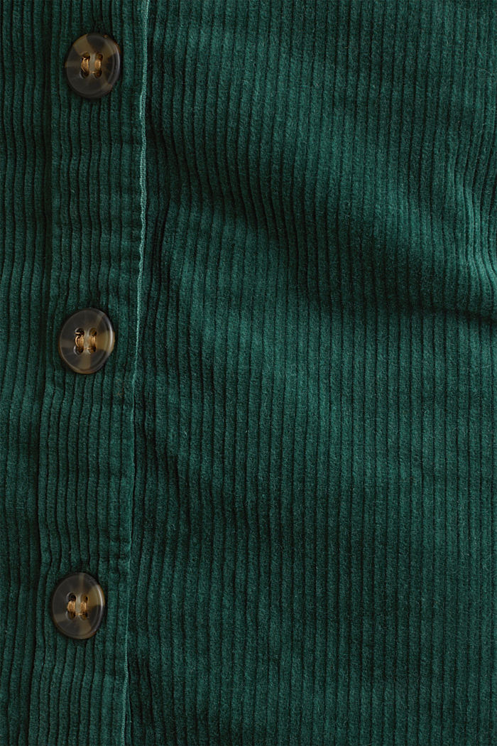 Stretch corduroy skirt with a button placket, BOTTLE GREEN, detail image number 4