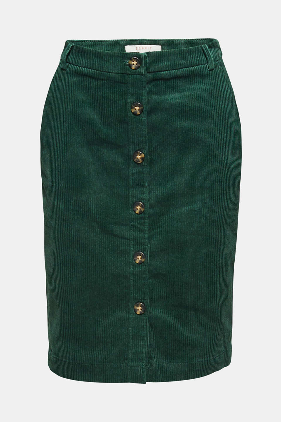 Stretch corduroy skirt with a button placket, BOTTLE GREEN, detail image number 5