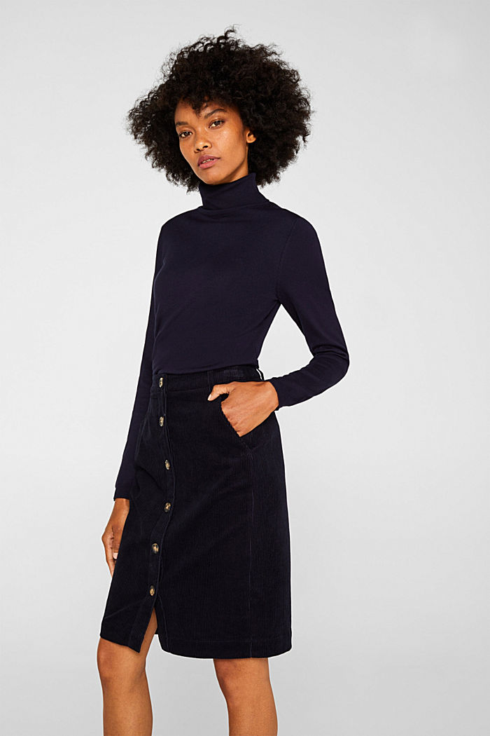 Stretch corduroy skirt with a button placket, NAVY, detail image number 0