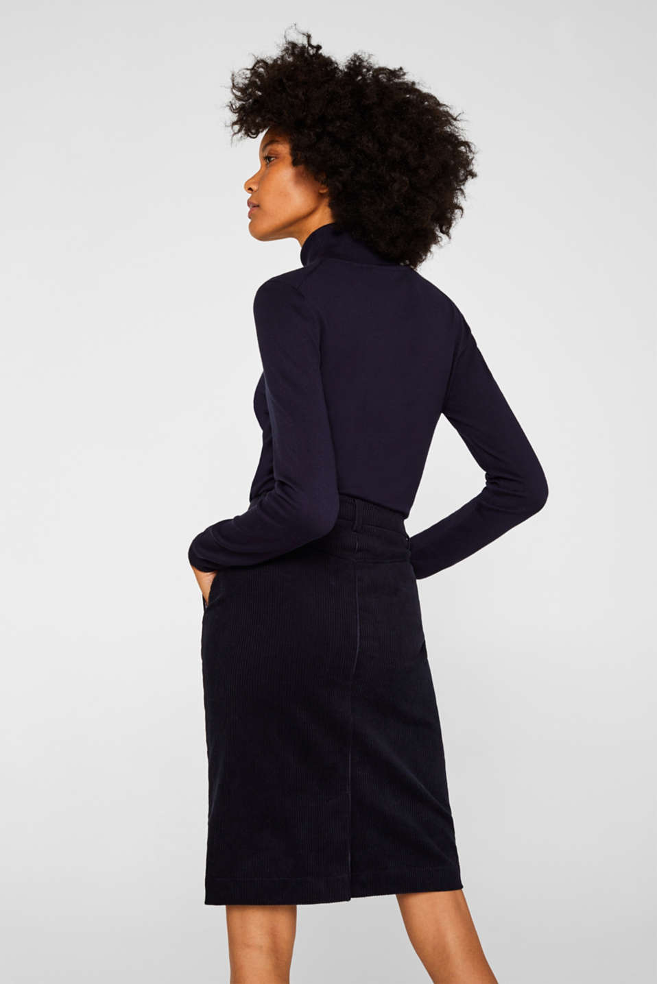 Stretch corduroy skirt with a button placket, NAVY, detail image number 3
