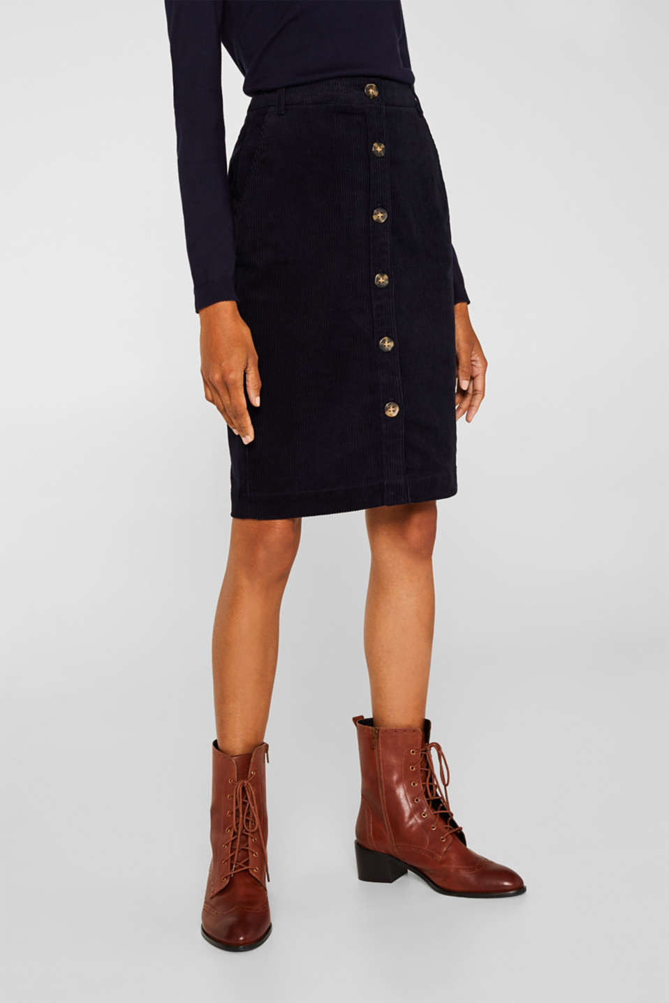 Stretch corduroy skirt with a button placket, NAVY, detail image number 5
