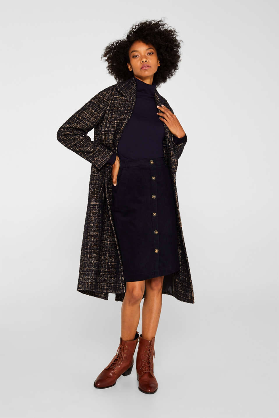 Stretch corduroy skirt with a button placket, NAVY, detail image number 1