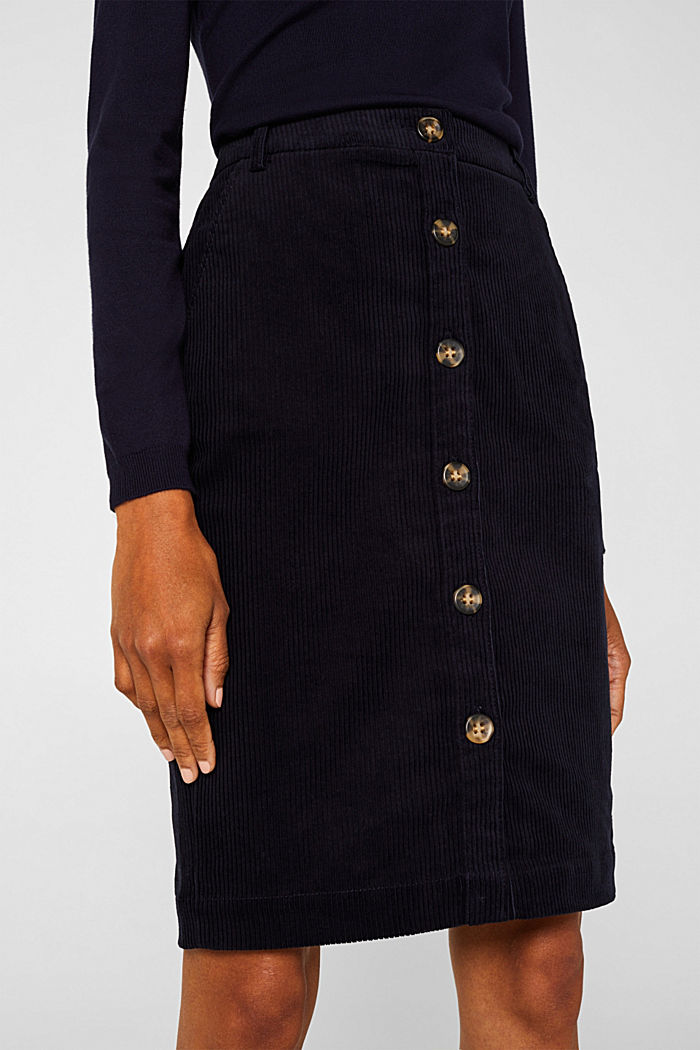Stretch corduroy skirt with a button placket, NAVY, detail image number 2