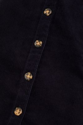Stretch corduroy skirt with a button placket, NAVY, detail