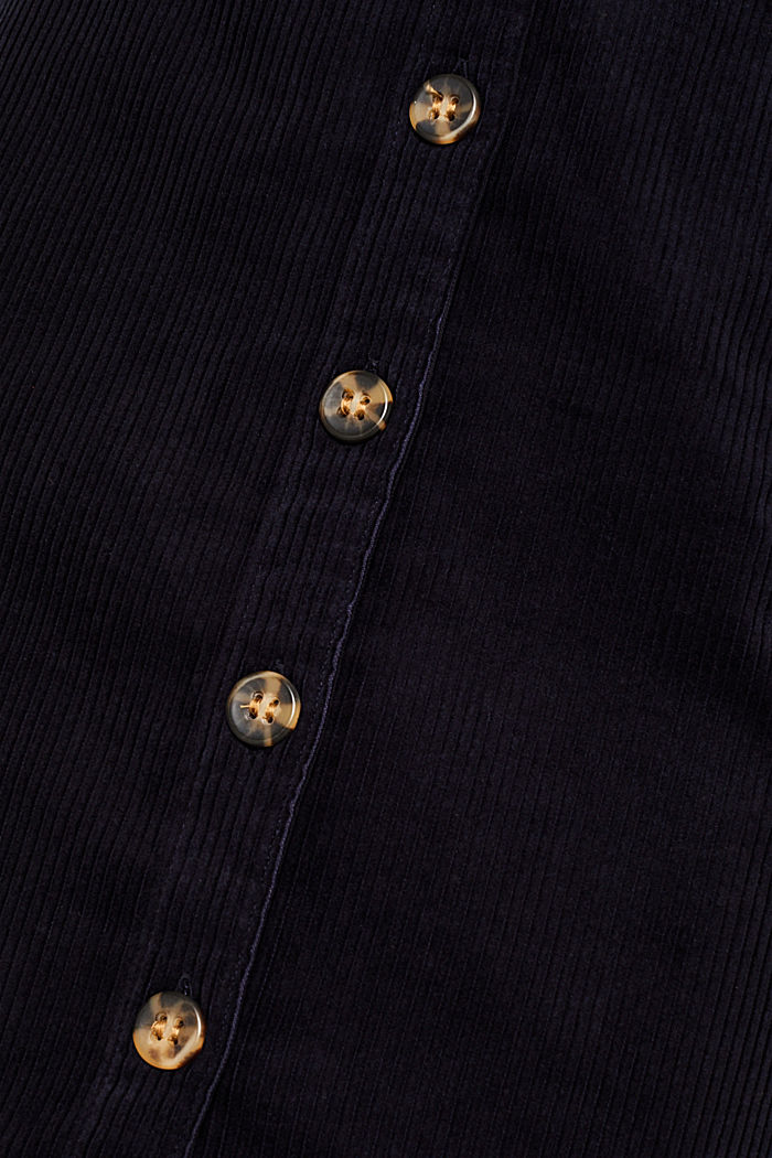 Stretch corduroy skirt with a button placket, NAVY, detail image number 4