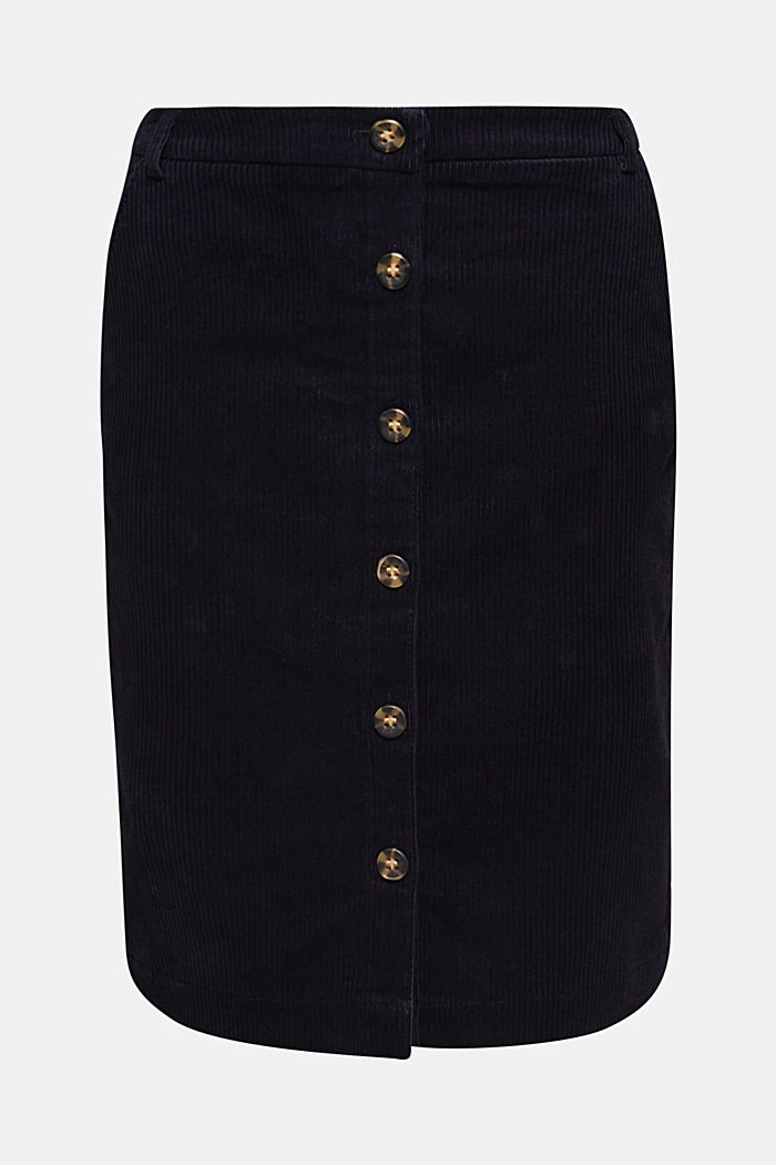 Stretch corduroy skirt with a button placket, NAVY, detail image number 6