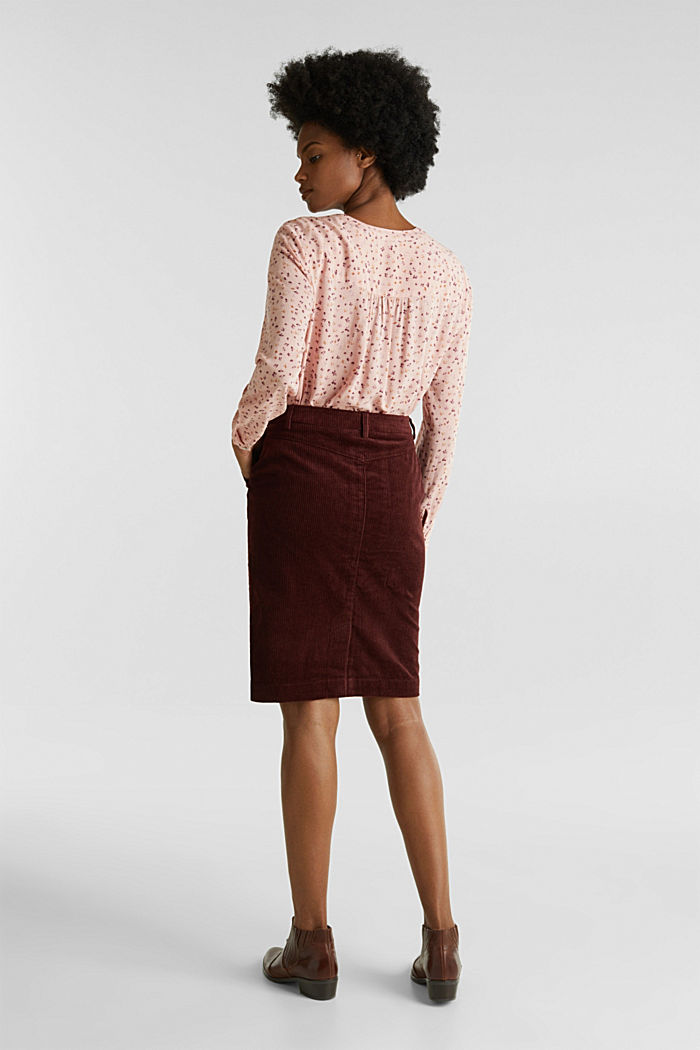 Stretch corduroy skirt with a button placket, BORDEAUX RED, detail image number 3