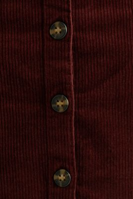 Stretch corduroy skirt with a button placket, BORDEAUX RED, detail