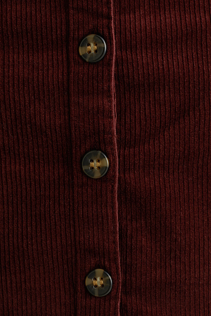 Stretch corduroy skirt with a button placket, BORDEAUX RED, detail image number 4