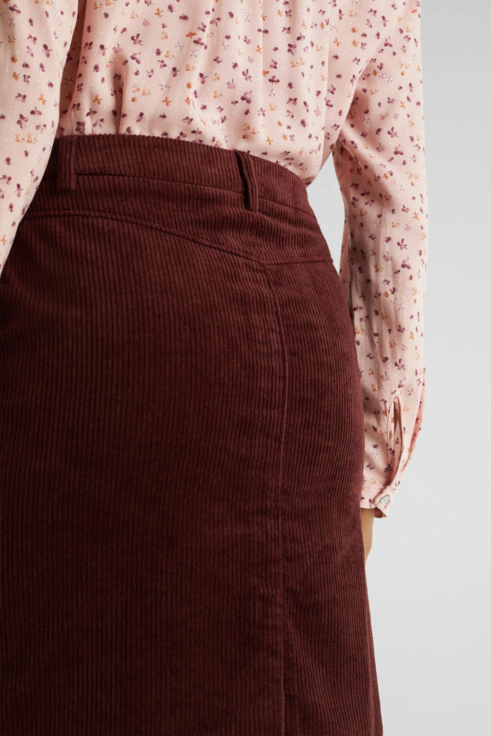 Stretch corduroy skirt with a button placket, BORDEAUX RED, detail image number 5
