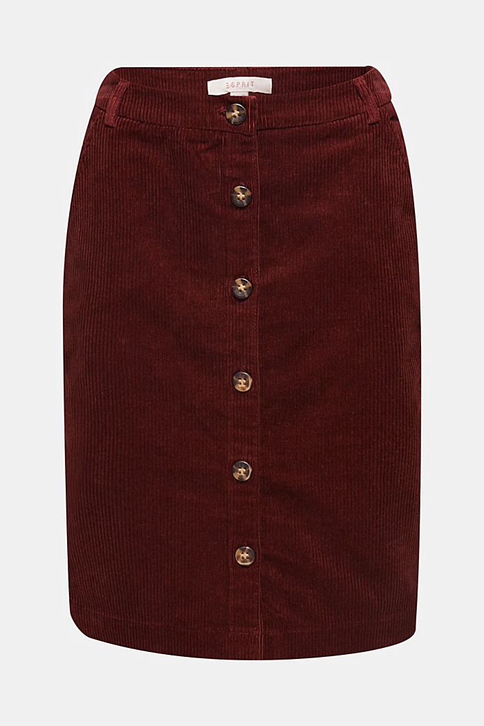 Stretch corduroy skirt with a button placket, BORDEAUX RED, detail image number 7