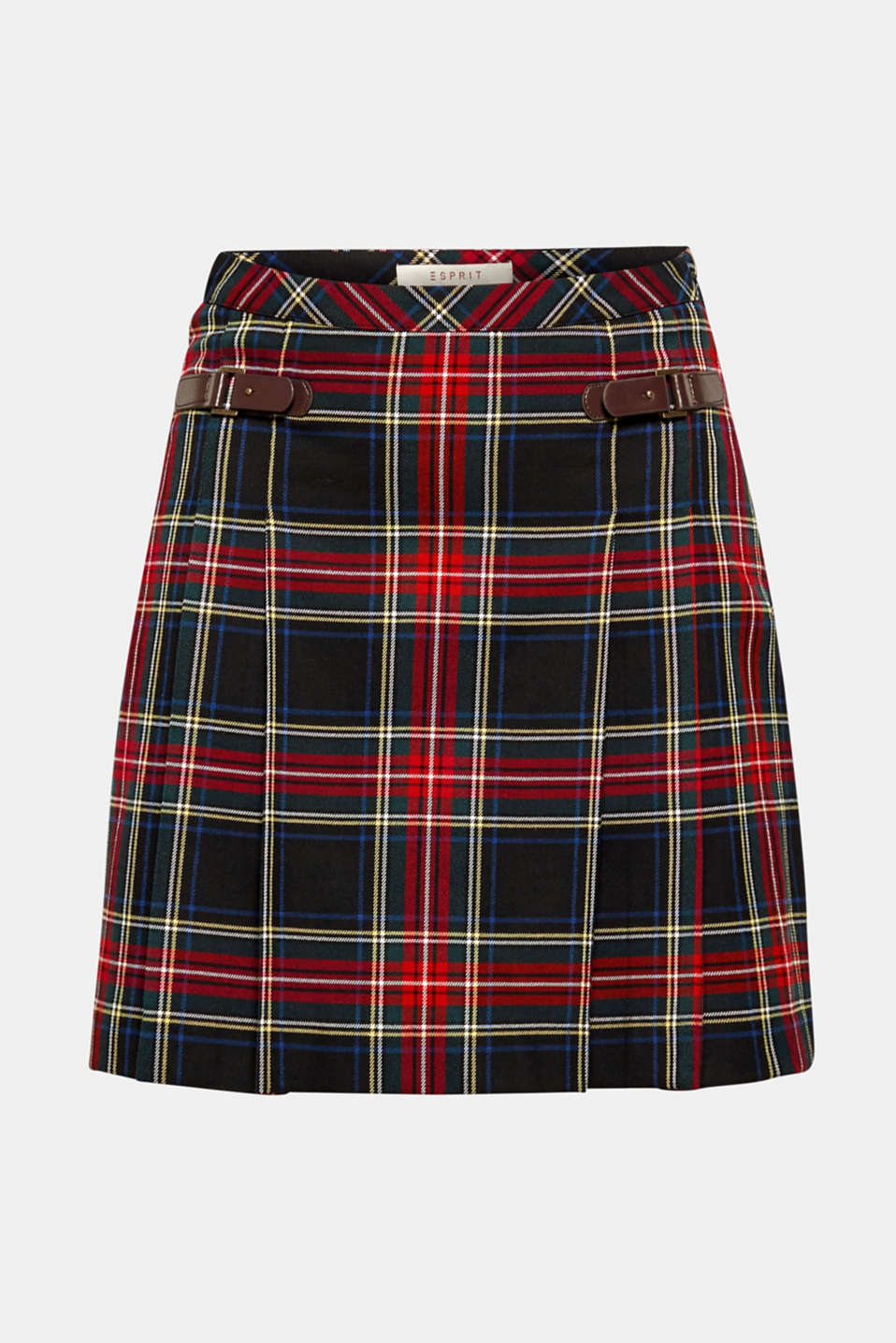 Pleated check skirt, BLACK, detail image number 7