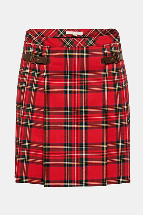 Pleated check skirt