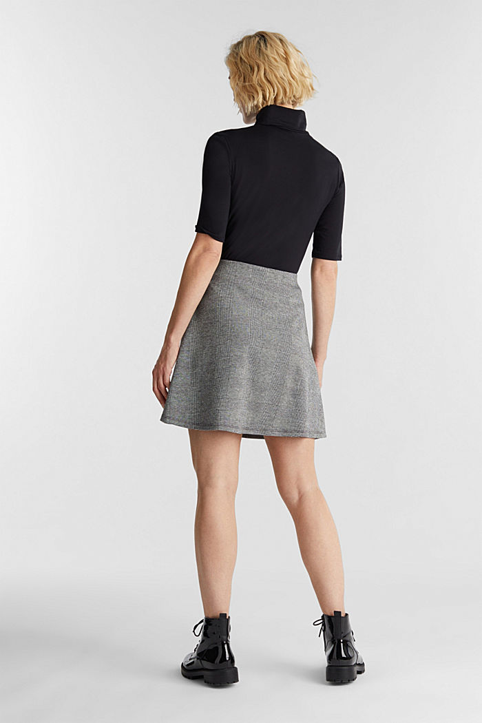 Jersey skirt with Prince of Wales checks, BLACK, detail image number 3