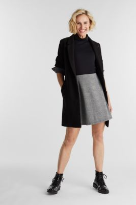 Jersey skirt with Prince of Wales checks, BLACK, detail