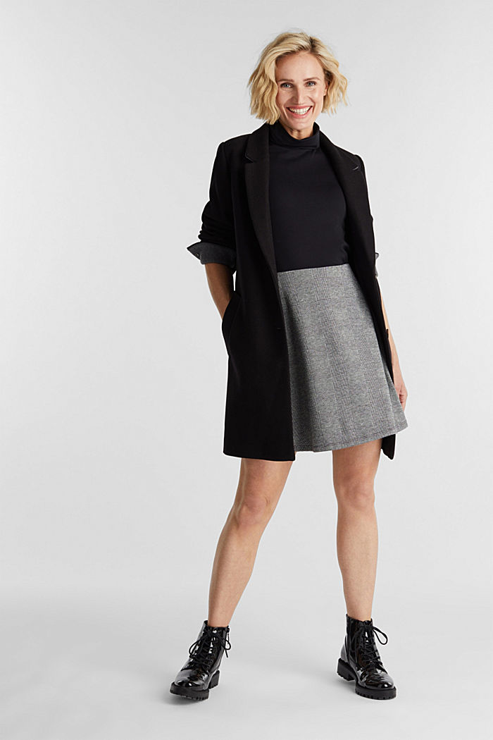 Jersey skirt with Prince of Wales checks, BLACK, detail image number 1