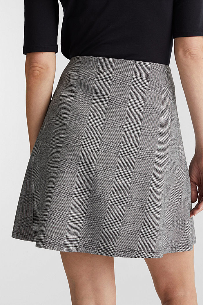 Jersey skirt with Prince of Wales checks, BLACK, detail image number 5