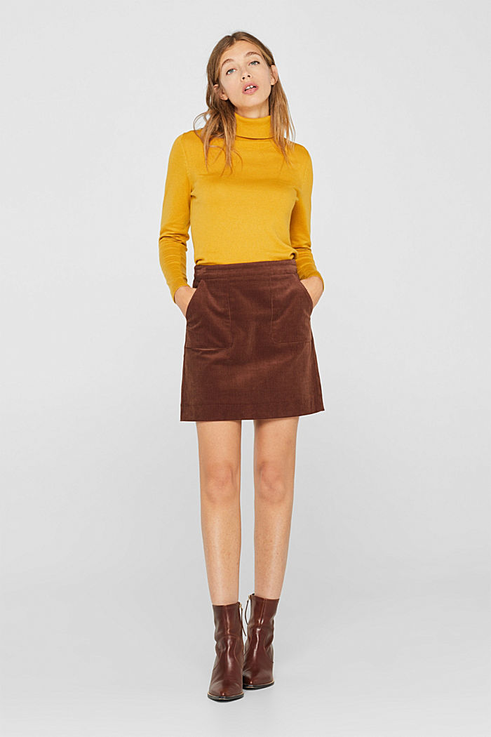 Stretch corduroy skirt with front pockets, DARK BROWN, detail image number 0
