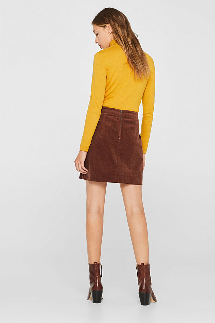 Stretch corduroy skirt with front pockets, DARK BROWN, detail image number 3