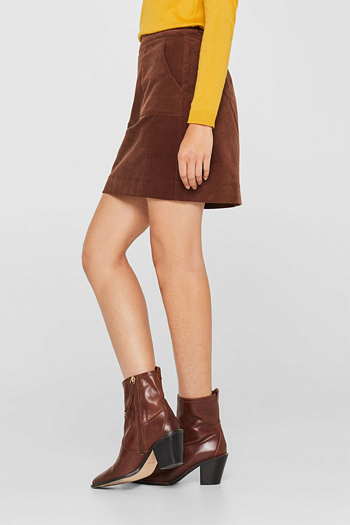 Stretch corduroy skirt with front pockets, DARK BROWN, detail image number 6