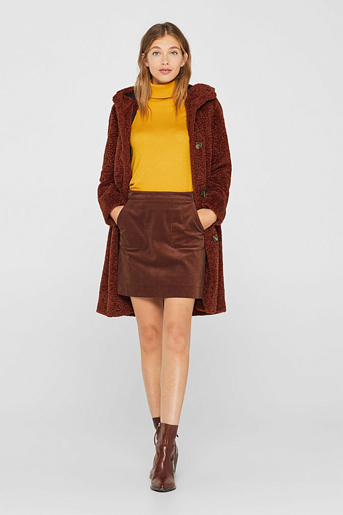 Stretch corduroy skirt with front pockets, DARK BROWN, detail image number 1