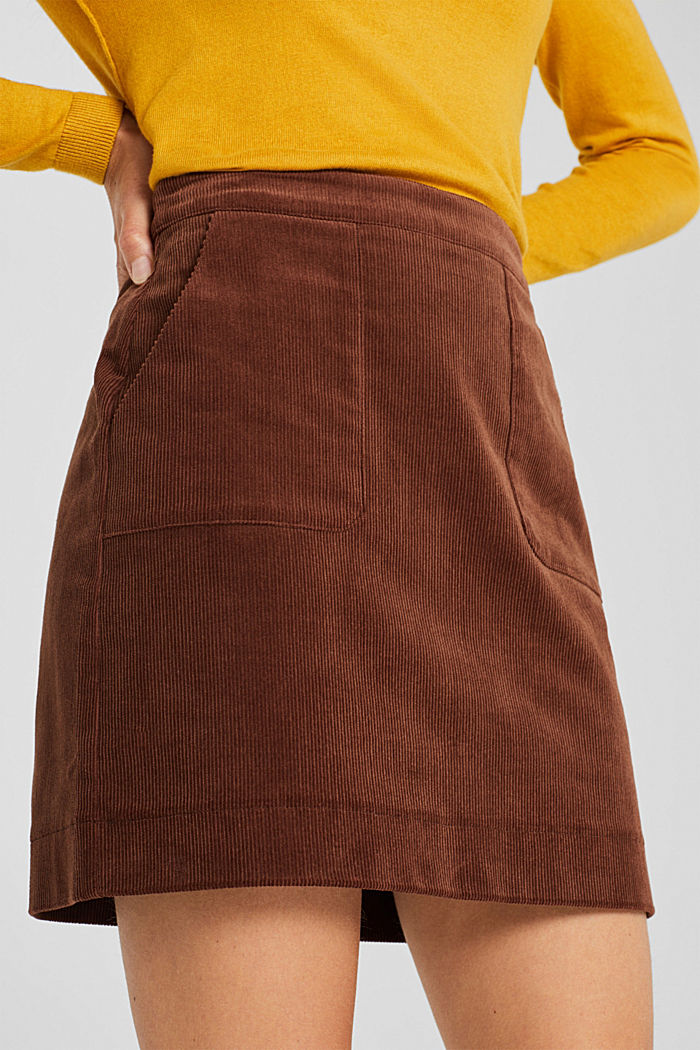 Stretch corduroy skirt with front pockets, DARK BROWN, detail image number 2