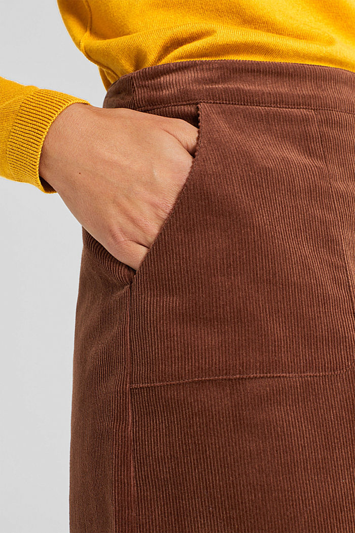 Stretch corduroy skirt with front pockets, DARK BROWN, detail image number 5