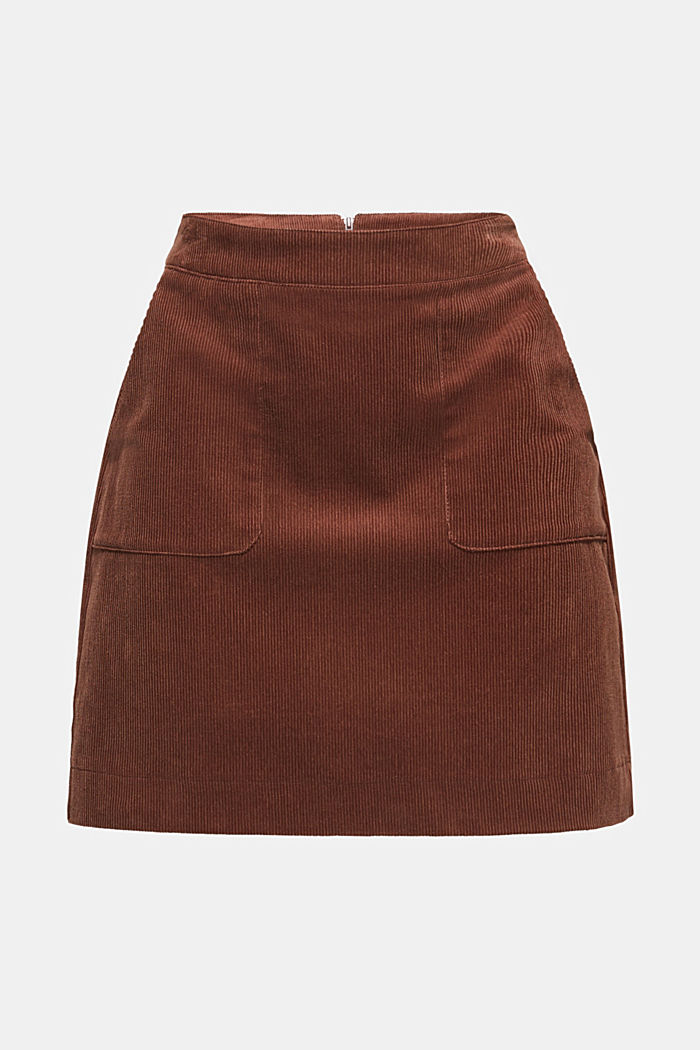 Stretch corduroy skirt with front pockets, DARK BROWN, detail image number 7