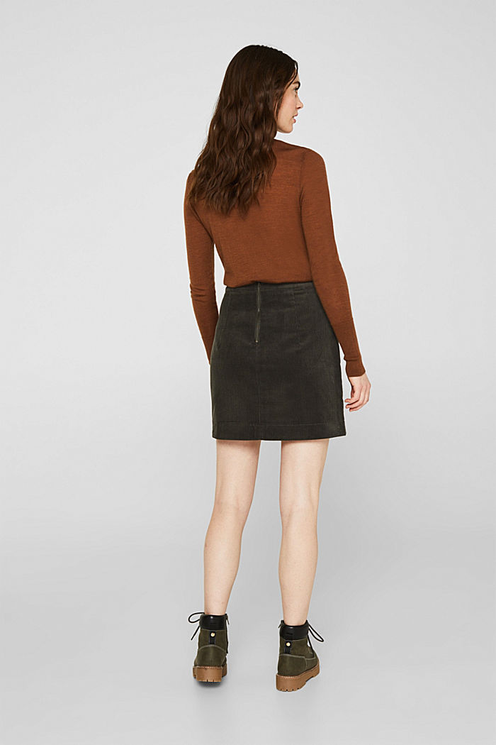 Stretch corduroy skirt with front pockets, KHAKI GREEN, detail image number 3
