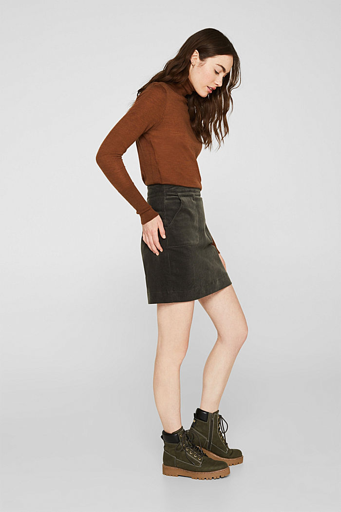 Stretch corduroy skirt with front pockets, KHAKI GREEN, detail image number 1