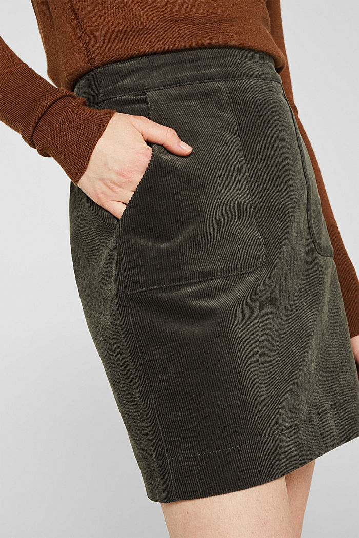 Stretch corduroy skirt with front pockets, KHAKI GREEN, detail image number 2