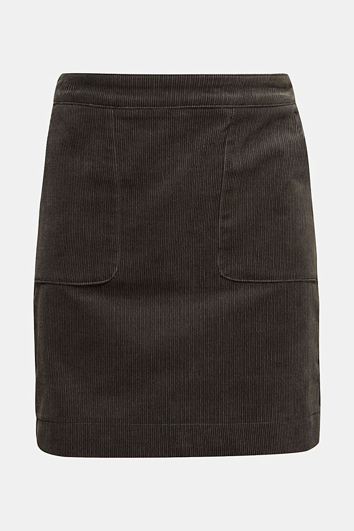 Stretch corduroy skirt with front pockets, KHAKI GREEN, overview